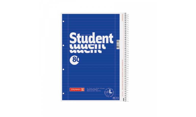 Brunnen A4 Left Hander 80 sheet Ruled Spiral Refill Pad, bound to Right