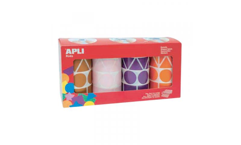 Apli Educational Geometric Labels on Roll, 4 Shapes 5438 Labels
