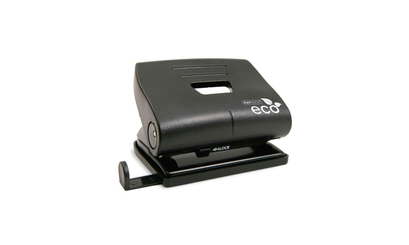 Rapesco ECO Black Medium 20 Sheet Punch with 100% Recycled Plastic Top cover, Metal working parts.