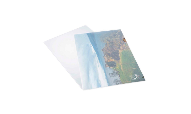 Rapesco ECO A4 Biodegradable Clear Letter Files. Open Top & Side with Thumb Cut. Pack of 25