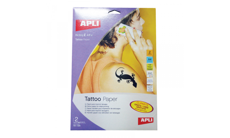 Apli A4 Temporary Tattoo Creation Paper, 2 Sheets