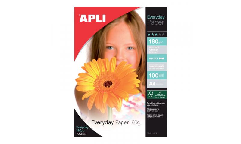 Apli Gloss Photo Paper, Ink Jet, 180gsm 100 Sheets, Bulk Pack