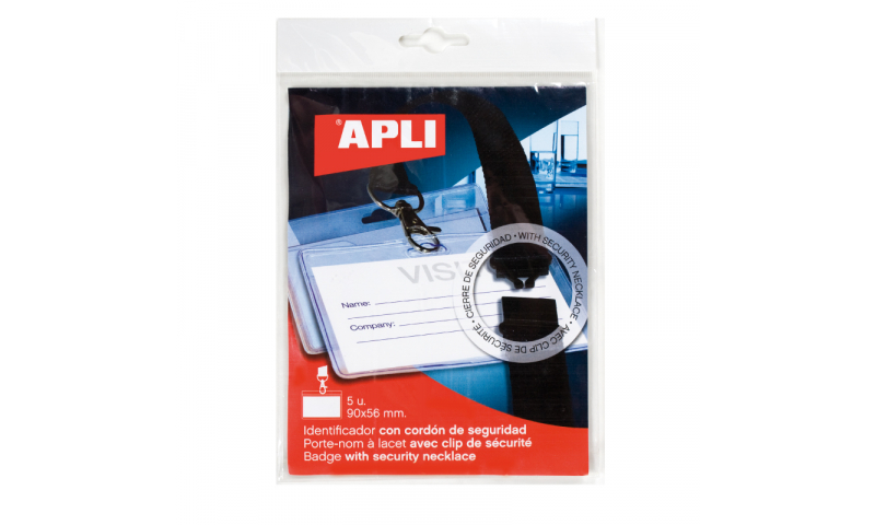Apli Plastic Badge with Security Lanyard, 90x56mm, 5 Pack, Hangcarded  (New Lower Price for 2021)