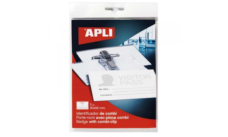 Apli Plastic 90x56 Combi & Pin Badge & Inserts, 5 Pack, Hangcarded