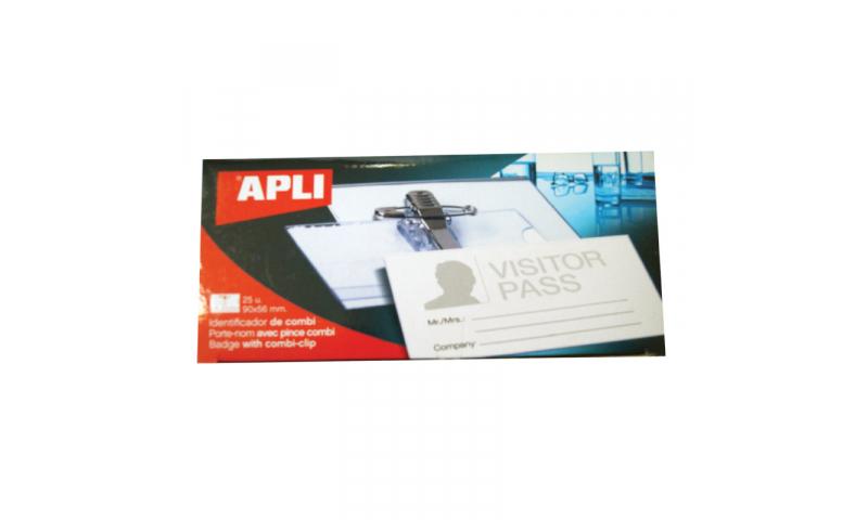 Apli Plastic 90x56 Combi & Pin Badge & Inserts, 25 Pack