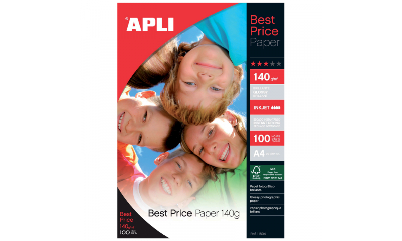 Apli Gloss Ink Jet Photo Paper, 140gsm 100 Sheets Pack