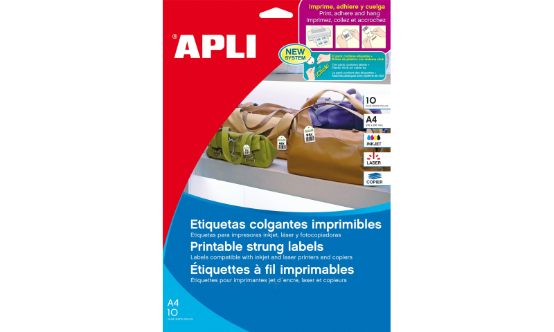 Apli Printable Strung Tags W/Plastic loops included,  150 Tags, 43x28mm,