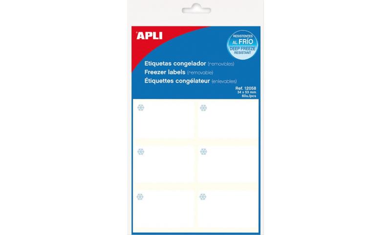 APLI Freezer Labels White 53x34mm, Pack of 60
