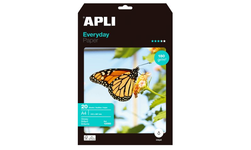 Apli Gloss Photo Paper, Ink Jet, 180gsm 20 Sheets Pack