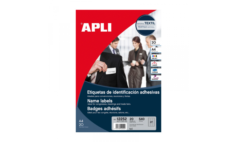 Apli Textile Name Badges, 63x30mm Pack of 20 Labels