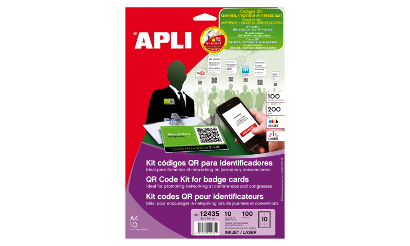 Apli Create Your Own Exhibition Cards, QR Badges Etc. Software Included 100 Card Pack, 90x54mm