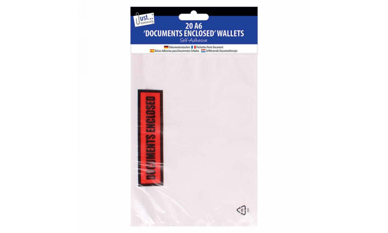 Just Stationery A6 Size Document Enclosed Envelopes 20pk