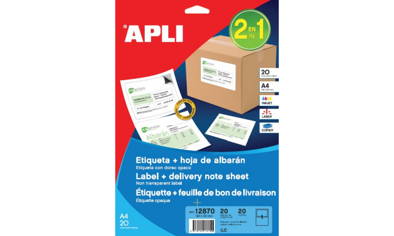 Apli A4 Label & Microperf Delivery Note Sheet, 20 Sheets