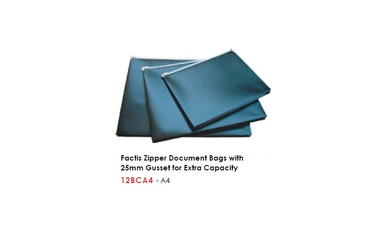 Factis A4 Zipper Document Bags with 25mm Gusset for Extra Capacity: On Special Offer