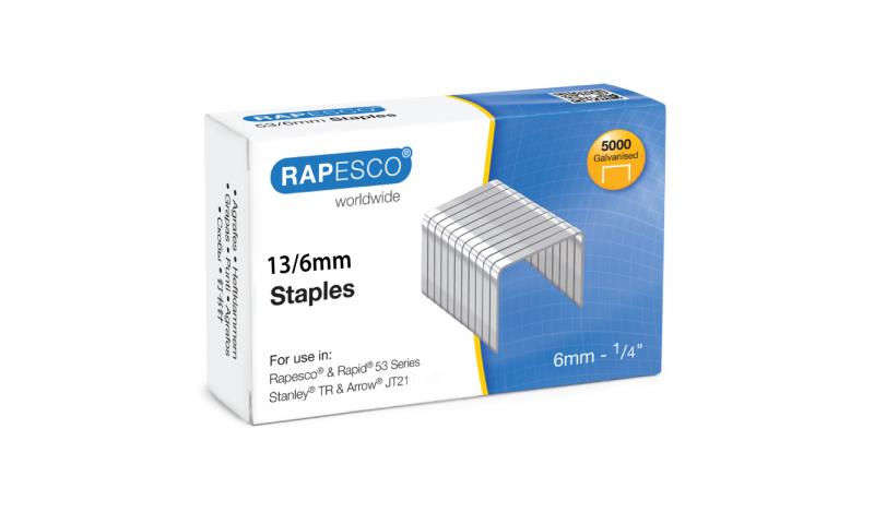 Rapesco 13/6mm Tacker staples x 5000 - Universal Fitting