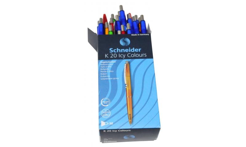 Schneider K20 ICY Retractable Metal Clip Ballpen 7 Colours of Barrel, Blue ink