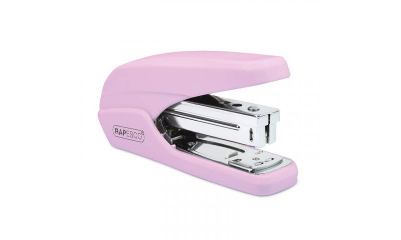 Rapesco X5 25 Less Effort Desk Stapler, 25 sheet, Light Pink.