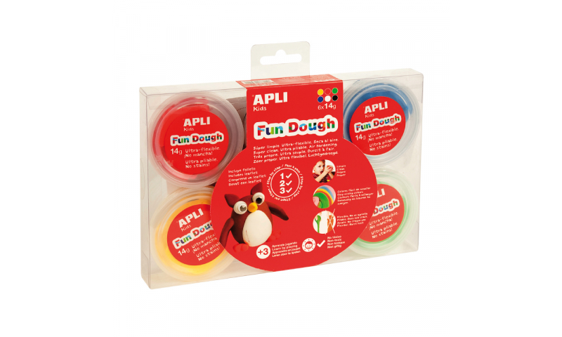 Apli Fun Dough Tubs, 14g, 6 Asstd Primary Colours