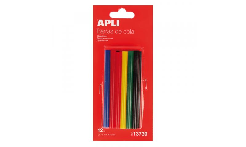 Apli 20W Glue Gun Colour Sticks 3D, 7.5mm, 5 Asstd, 12 Pack.  (New Lower Price for 2021)