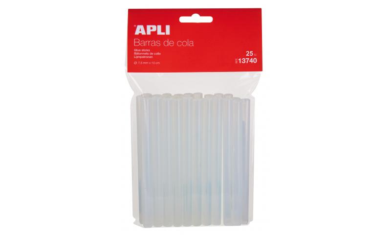 Apli 20W Glue Gun Clear Sticks, 7.5mm, 25 Pack