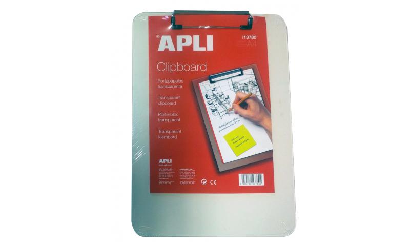 Apli A4 Transparent Rigid Acrylic Clipboard (New Lower Price for 2021)