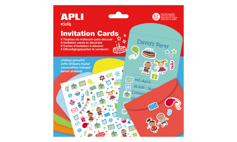 Apli Invitation Cards with Stickers, 6 Pack