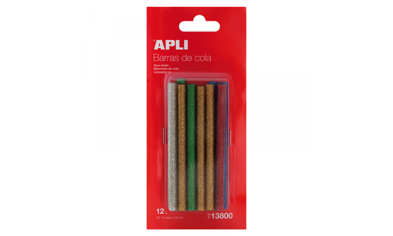 Apli 20W Glue Gun Glitter Sticks 3D, 7.5mm, 5 Asstd, 12 Pack.  (New Lower Price for 2021)