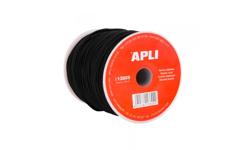 Apli Spool of Black Elastic Cord, 2mmx100m