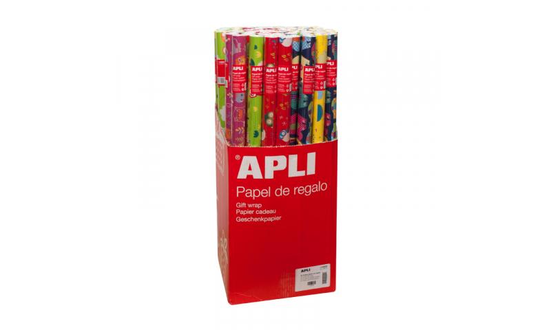 Apli Giftwrap Paper in Roll, 2mx70cm, Xmas Asstd Designs
