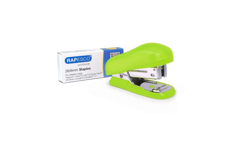 Rapesco Bug Mini Stapler 26/6 Staple with 1000 Staples, Carded, Green