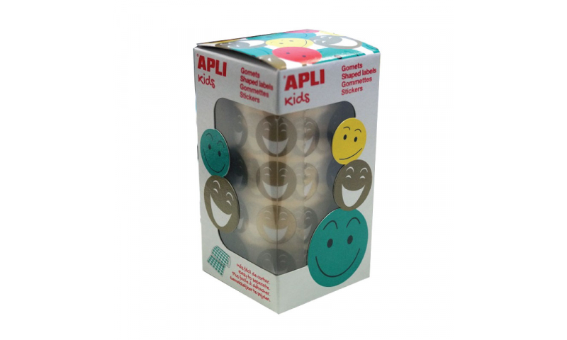 Apli Gold Smiley Face Labels, 24mm, 900 on Roll
