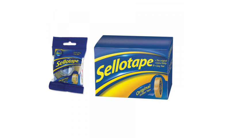 Sellotape Gold Original 18mm x 66M, individual Flow Wrapped  (New Lower price for 2021)