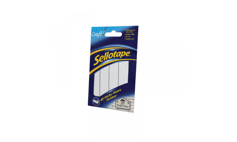 Sellotape Sticky Fixers, Outdoor, Extra Strong, pack 48, hang pack (New Lower Price for 2021)