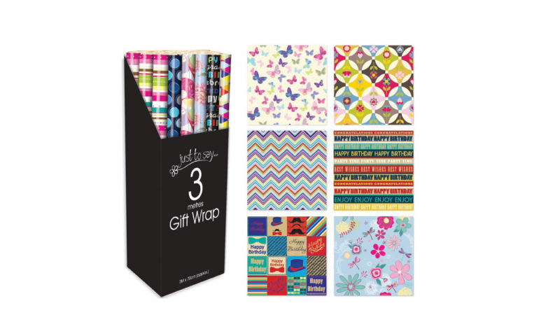 Just to Say Gift Wrap rolls, Adults assorted 70cm x 3m