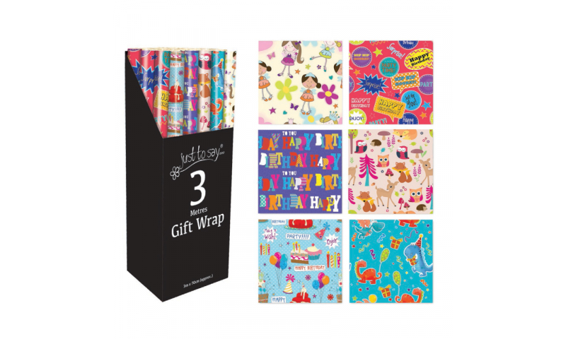 Just to Say Gift Wrap rolls, Children's assorted 70cm x3m