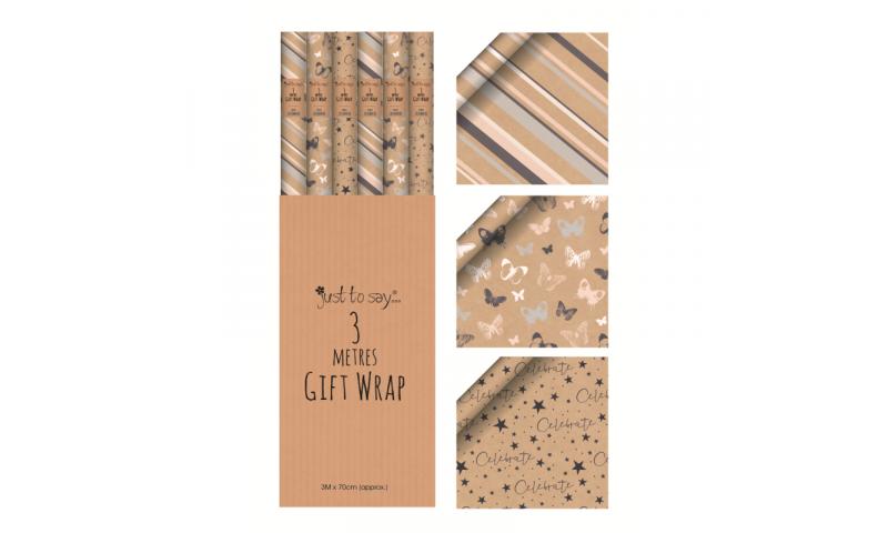 Natural Kraft Gift Wrap Rolls 3 Metre x 70cm, 3 Asstd Designs