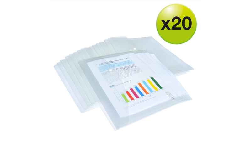Rapesco A4+ Clear Popper Wallet, Pack of 20 assorted
