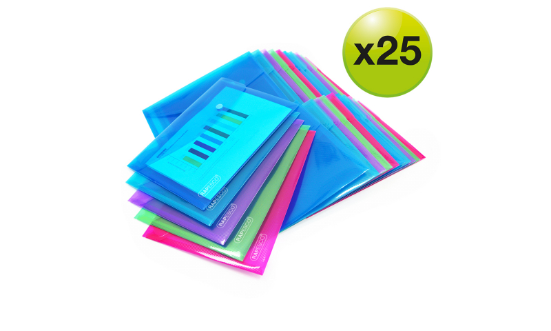 Rapesco A5 Bright Popper Wallet, Pack of 25 assorted