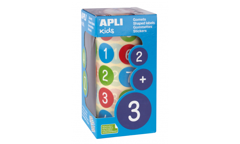 APLI Roll of 900 Educational Stickers, Numbers, 20 mm