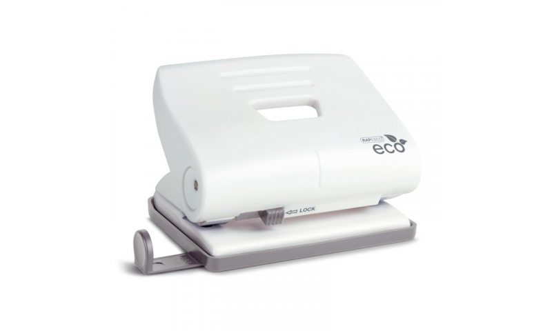 Rapesco ECO White Medium 20 Sheet Punch with Recycled Plastic Top cover, Metal working parts.