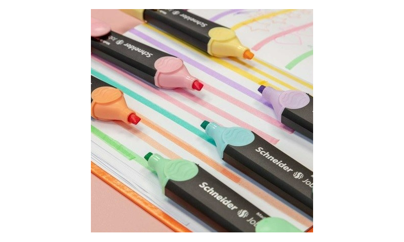 SCHNEIDER  Job Pastel Highlighters, Red Dot Awarded, Chisel Tip in 6 colour selection.