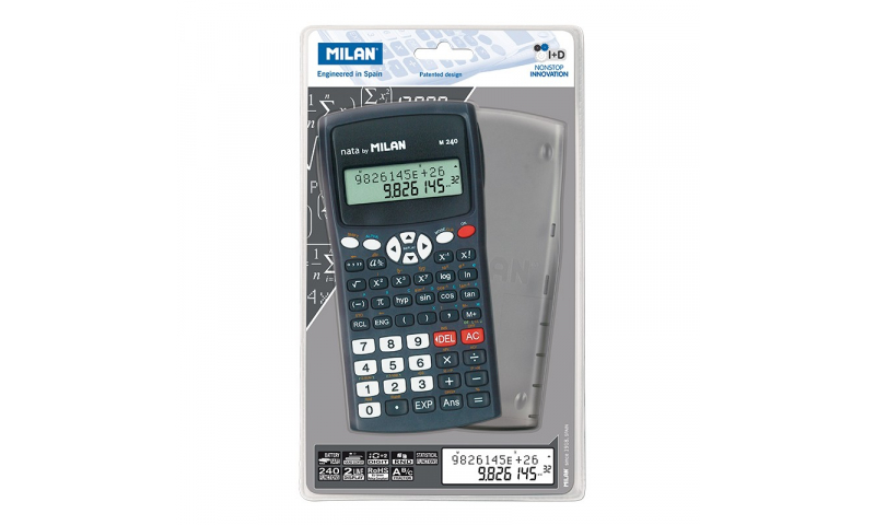 Milan Scientific Calculator, 10+2 Digits, Hard Case Cover, 240 Functions, Casio Logic (New Lower Price for 2021)