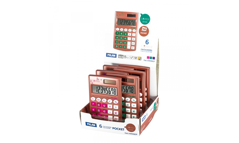 Milan Copper Pocket Touch Calculators in Display, 3 asstd (New Lower Price for 2021)