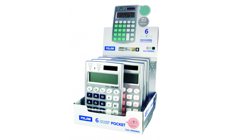 Milan Silver Pocket Calculator 8 digit, Slim, Rubber Buttons, Asstd Trims (New Lower Price for 2021)