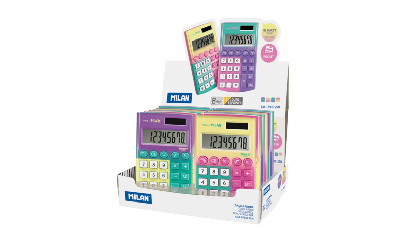 Milan SUNSET Pocket Touch Dual Power Calculators in Display, 3 asstd