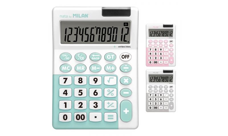 Milan 12Dgt Desktop Antibacterial Advanced Calculator, 3 asstd. COVID SAFE