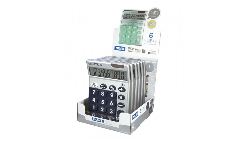 Milan Desk Calculator, 10 Digit, Soft Touch SILVER in Display. (New Lower Price for 2021)