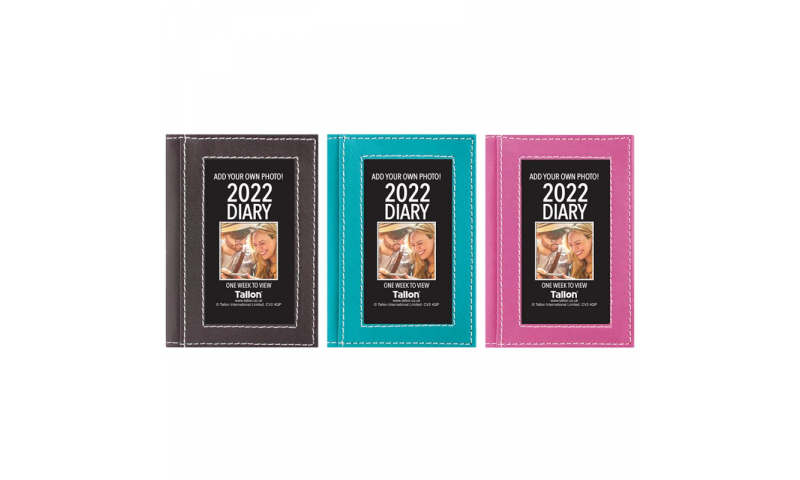 Tallon Pocket 2020 Weekly Diary with Personalisable Photo insert front, 3 asstd