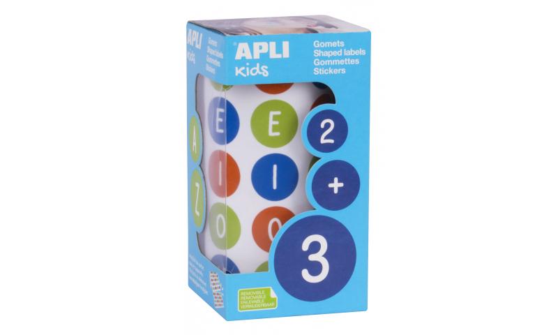 APLI Roll of 900 Educational Stickers Vowels Capitals Ø 20 mm