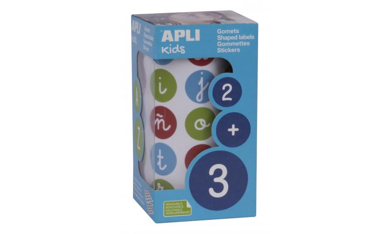 APLI Roll of 900 Educational Stickers Lower Case Letters, Ø 20 mm
